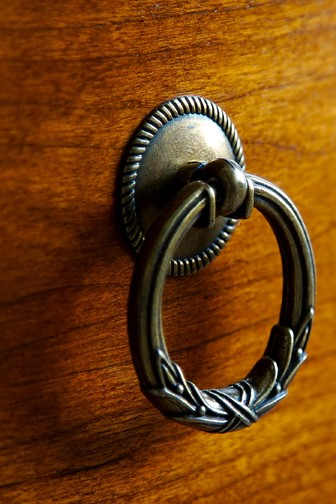 drawer pull on an antique chest